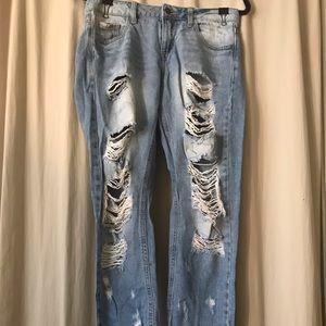 Forever 21 Distressed Light Denim Boyfriend Jeans